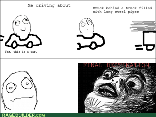 driving,Final Destination,movies,Rage Comics,raisin face