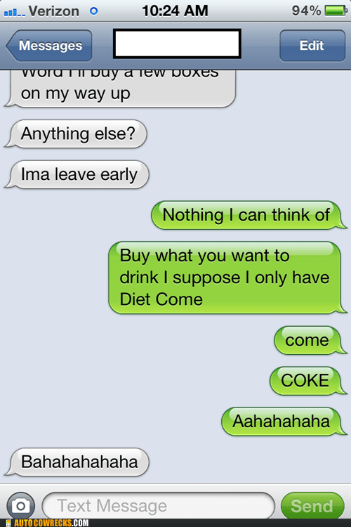 autocorrected calories coke come typos