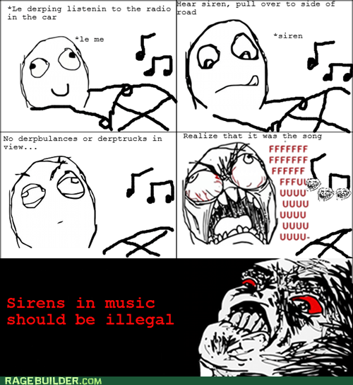 driving,Music,Rage Comics,raisin rage,sirens