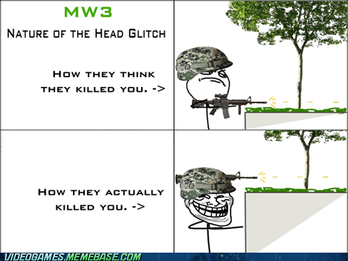 call of duty,head glitch,rage comic,shooting,trolling