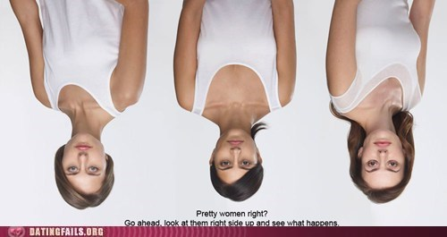 Three upside down girls in the photo, if you turn it right side up their faces are all messed up, especially the eyes and lips.