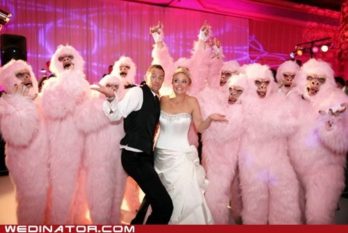 bride,costume,funny wedding photos,groom,yetis
