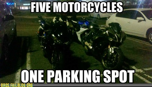 bikers motorcycles parking