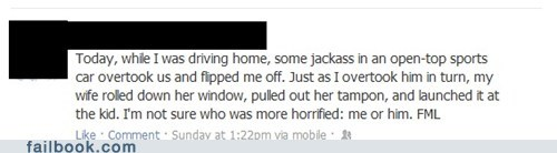 bloody,driving,failbook,road rage,tampon