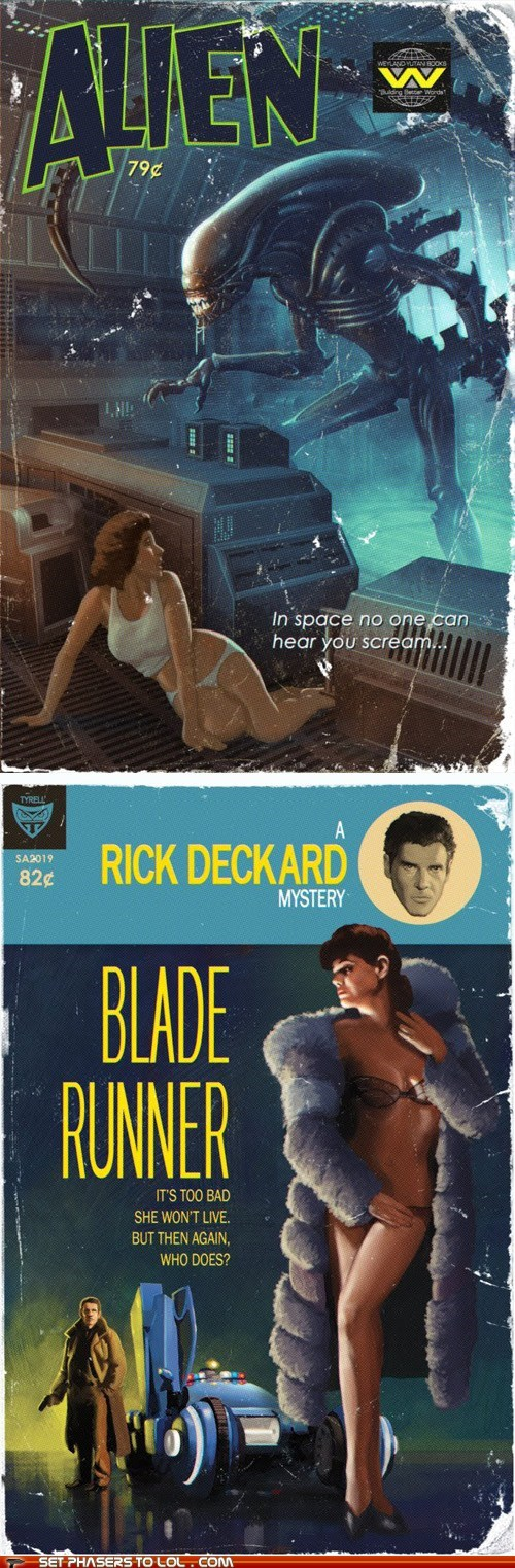 alien,Aliens,Blade Runner,Ellen Ripley,novels,pulp fiction,replicant,Rick Deckard,xenomorphs