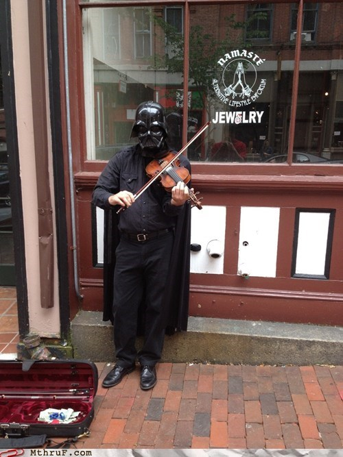 darth vader,street performer,violin,violinist