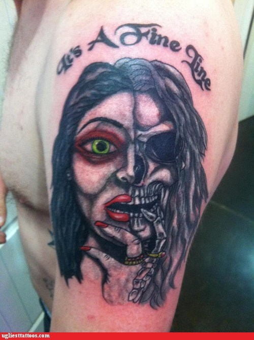 arm tattoo,its-a-fine-line,michael jackson,skeleton,woman
