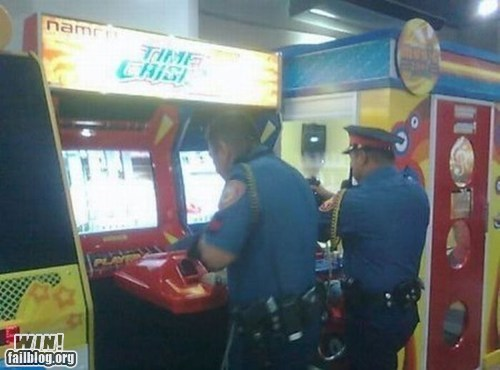 arcade cop ironic light gun game video game