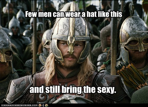 bringing sexy back,david wenham,eomer,faramir,few,hat,helmet,hot,karl urban,Lord of The Ring,Lord of the Rings,sexy