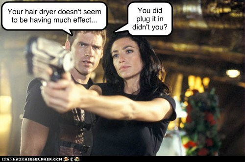 aeryn sun asking ben browder claudia black effect hair dryer John Crichton plug in - 6350260736