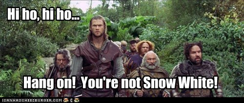 chris hemsworth,confusion,dwarves,prettier,snow white,snow white and the huntsm,snow white and the huntsman