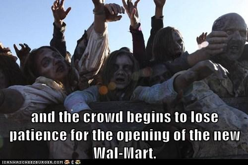 charging,crowd,opening,patience,restless,ugly,The Walking Dead,wal mart,zombie