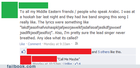 call me maybe,language,middle eastern,song