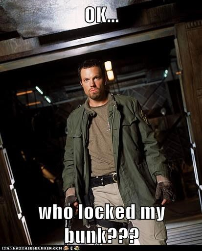 adam baldwin,angry,bad idea,bunk,Firefly,jayne cobb,locked,prank