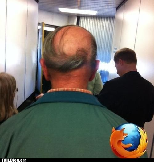 bald spot,comb over,firefox logo,hair