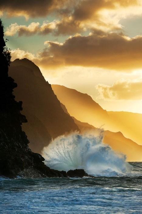 cliff Hawaii island ocean sunrise waves - 6352616192