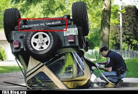 bumper sticker,flipped,if you can read this,jeep,turn me over