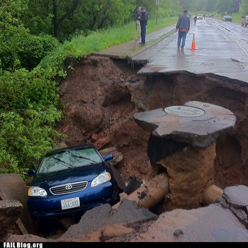 car,road collapse,sewer