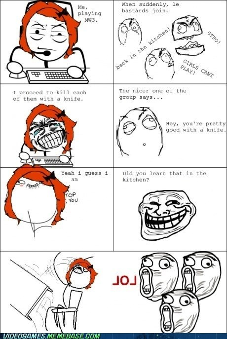 girls,in the kitchen trolls,online gaming,rage comic