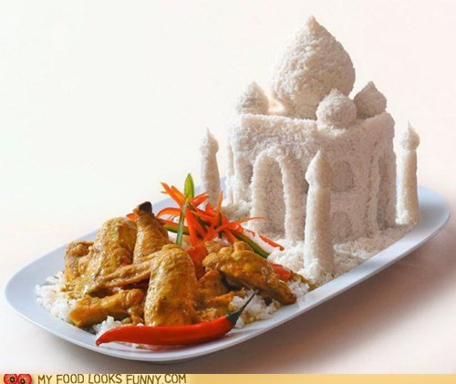 art,best of the week,chicken,indian food,rice,sculpture,taj mahal,veggies
