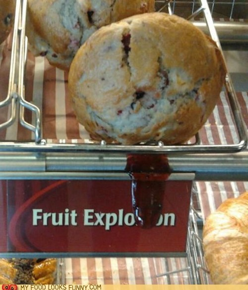 fruit explosion,jam,muffin,shelf,sign