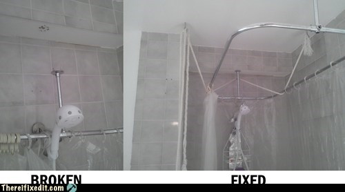 broken shower,shower,shower curtain,shower frame,showerhead