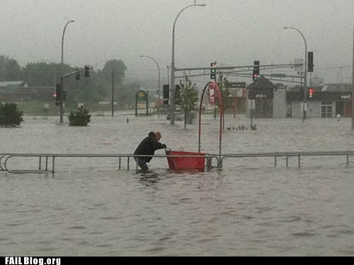 flood returning shopping cart