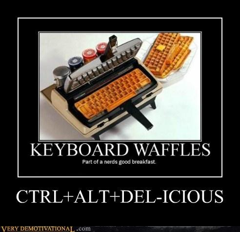 ctrlaltdel delicious keyboard pun Pure Awesome waffels - 6353903104