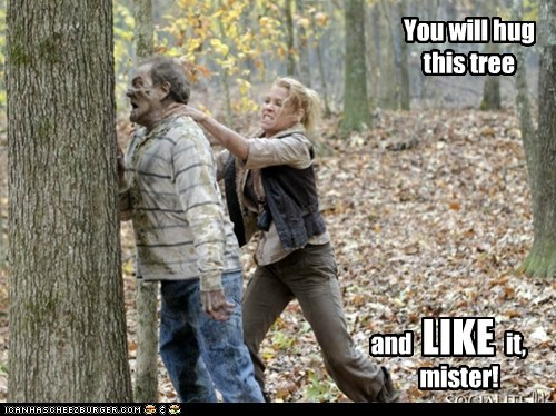 forced,like it,mister,tree,tree hugging,The Walking Dead,zombie