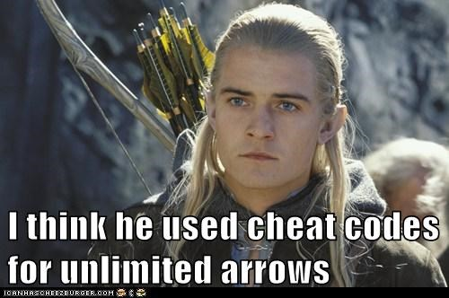 arrows,bow,cheat codes,legolas,Lord of The Ring,Lord of the Rings,orlando bloom,unlimited,video games