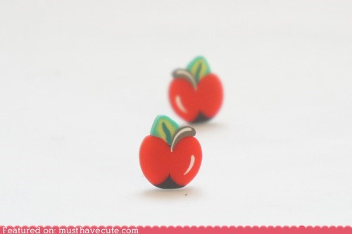 apples,earrings,Jewelry,studs