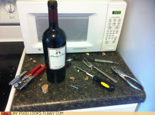 cork,desparation,mess,tools,wine