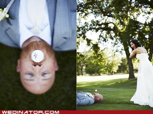 bride,funny wedding photos,golf,groom,sports