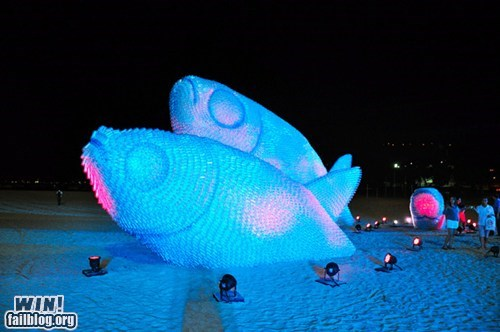 art beach fish recycling sculpture - 6356190720