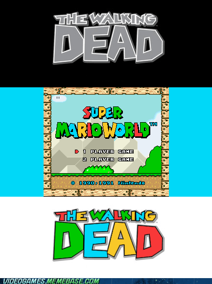 font,mario,supe mario world,The Walking Dead