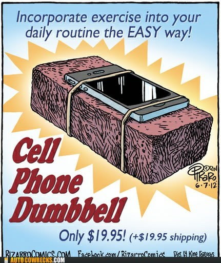 bizarro bricks cell phone dumbbell exercise - 6356723712