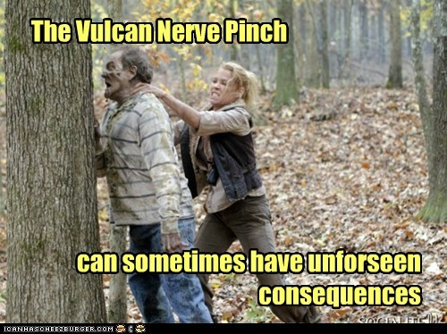 The Walking Dead zombie Vulcan nerve pinch sometimes unforseen consequences dissolving