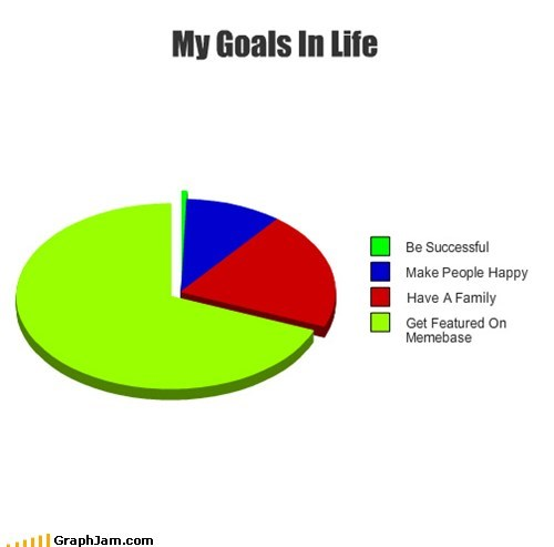 life goals,memebase,Pie Chart,self referential