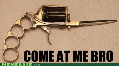 brass knuckles bro come at me gun knife mug - 6357000448