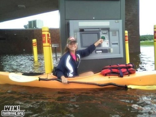 ATM,BAMF,flooding,kayak,money