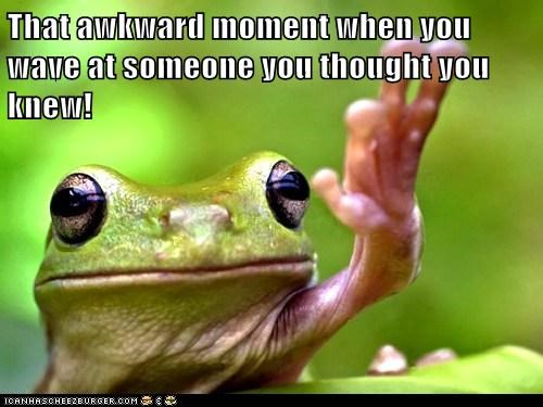 frog,knew,mistake,person,that awkward moment,waving