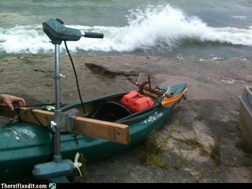 kayak motor motorboat paddling
