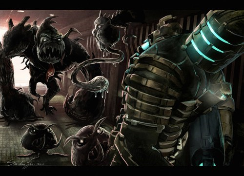 crossover,dead space,Fan Art,Super Mario bros,video games