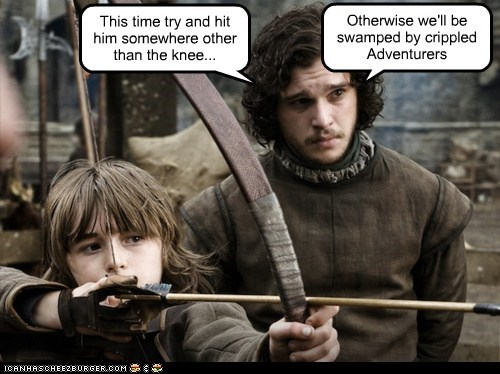 adventurers,arrow in the knee,bran stark,Game of Thrones,Jon Snow,kit harrington