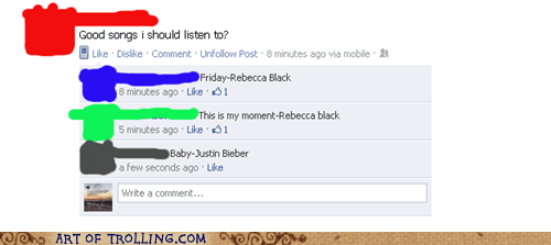 facebook,justin bieber,Music,Rebecca Black