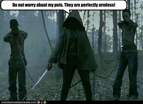 arms chained harmless pets pun samurai swoard The Walking Dead zombie - 6358841344