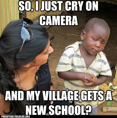 cry on camera,donations,new school,third world