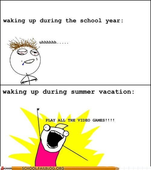school year summer vacation video games waking up - 6359203584