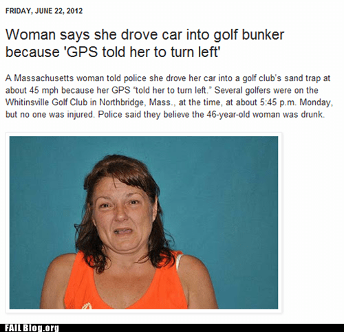 golf bunker gps Probably bad News turn left