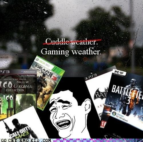 cuddle,gaming,gtfo,raining,weird kid